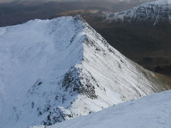 Striding Edge from Helvellyn's summit