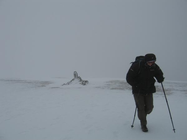 David experiencing the weather at Stybarrow Dodd's summit
