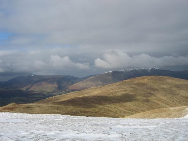 Calfhow Pike and Clough Head with the Skiddaw fells and Blencathra behind