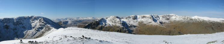 Westernly panorama from Saint Sunday Crag's summit