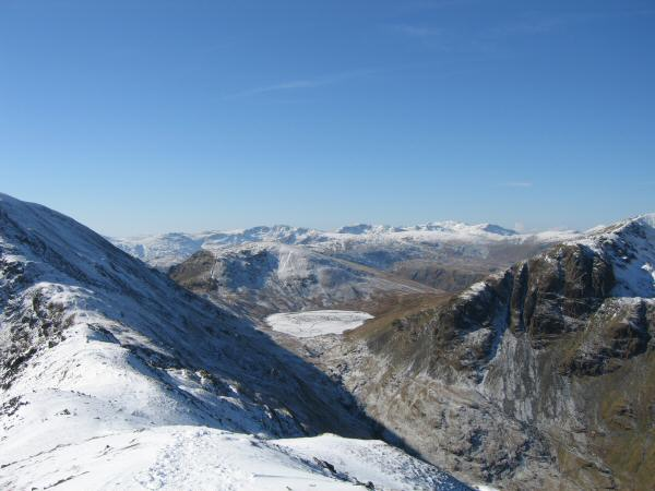 Lookng over Grisedale Tarn to the high central fells