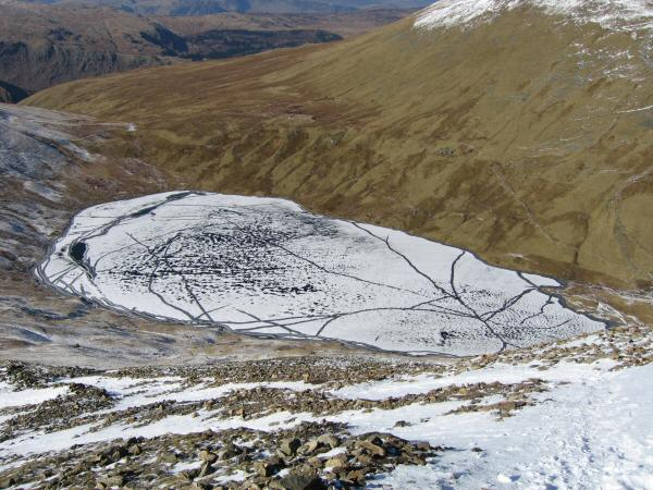 Looking down on Grisedale Tarn from our descent to Grisedale Hause from Fairfield