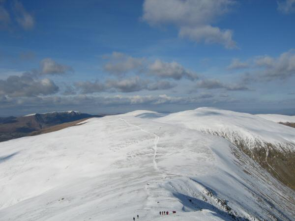 White Side from Helvellyn Lower Man with Blencathra in the distance