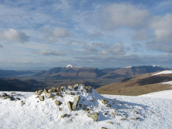 The Skiddaw fells and Blencathra from White Side's summit