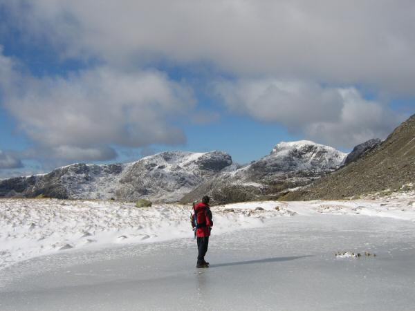 The Scafells from one of the frozen Three Tarns