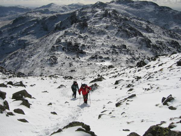 Ascending Bowfell from Three Tarns