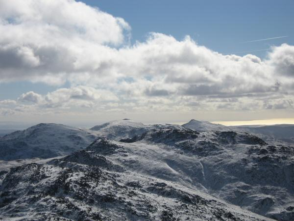 Looking over Crinkle Crags to Coniston Old Man and Dow Crag