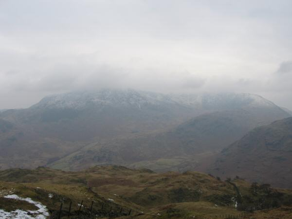 Wetherlam and Great Carrs with their tops in cloud