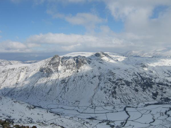 The Langdale Pikes from Pike O'Blisco's summit