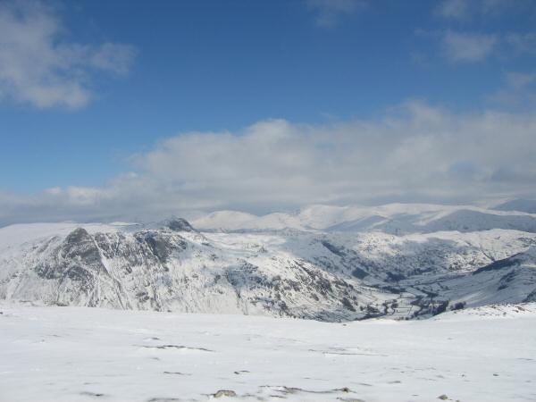 The Langdale Pikes and Great Langdale with the Fairfield fells in the distance