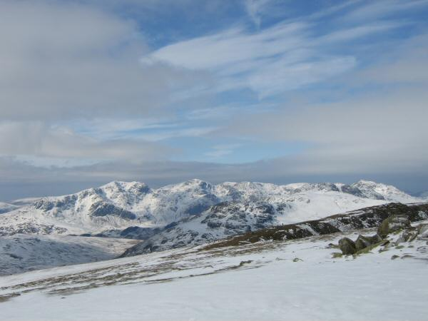 The Scafells and Bowfell from the ascent of Swirl How