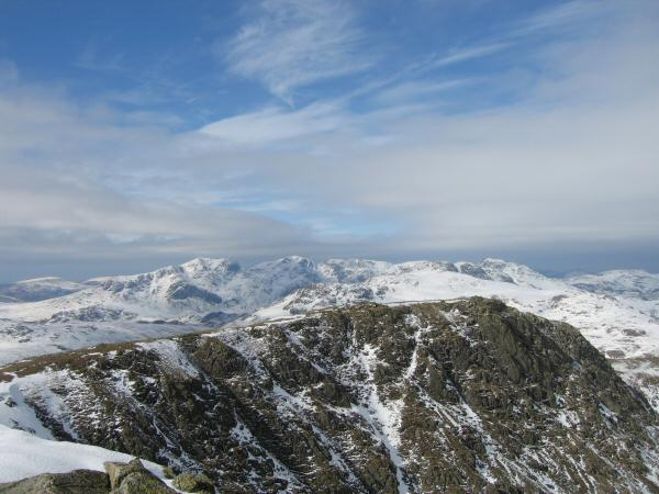 Looking over Great Carrs to the Scafells from Swirl How's summit