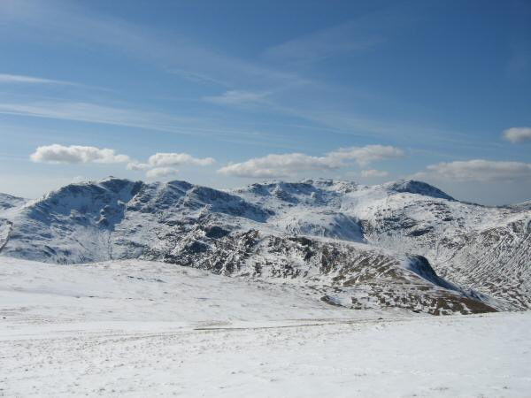 Bowfell, Esk Pike, Scafell Pike and Great End from High Raise