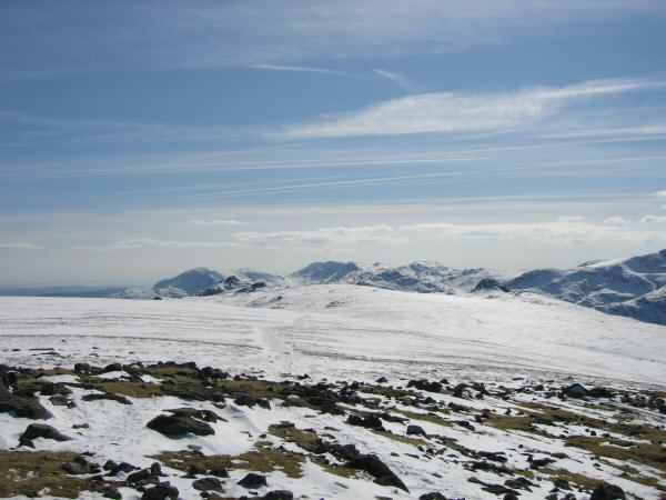 Looking back to the Langdale Pikes with the Coniston Fells beyond from High Raise