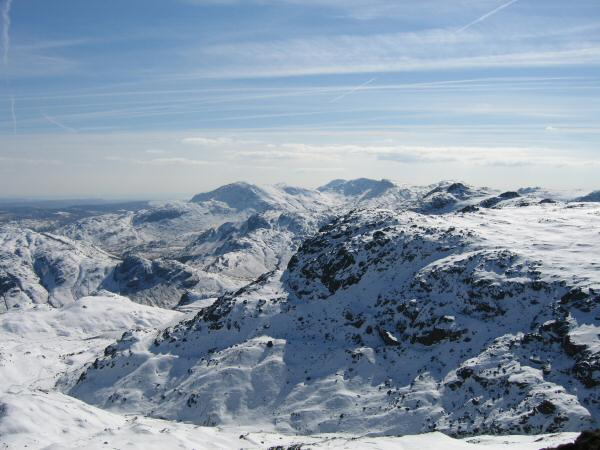 Pavey Ark and the Coniston Fells from Sergeant Man's summit