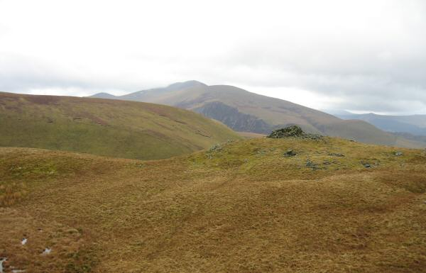 Meal Fell's summit shelter with Skiddaw behind