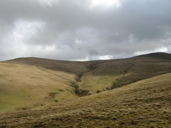 Looking back to Brae Fell and Little Sca Fell from the flanks of Longlands Fell