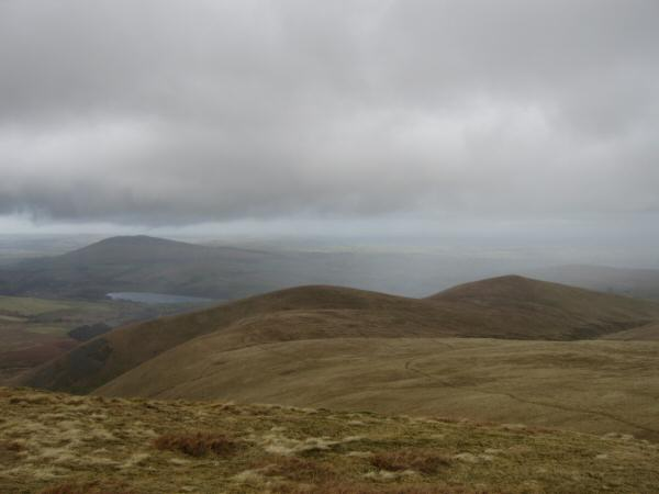 Looking back down on Lowthwaite Fell and Longlands Fell from Little Sca Fell
