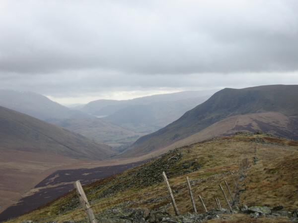 The view south from Great Calva's summit. Thirlmere can just be made out left of centre