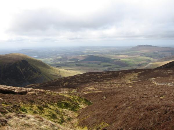 The view northwest from the top of Dry Gill on the descent to Dash Falls from Little Calva
