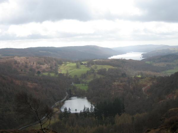 Yew Tree Tarn and Coniston Water from Holme Fell's northeast ridge