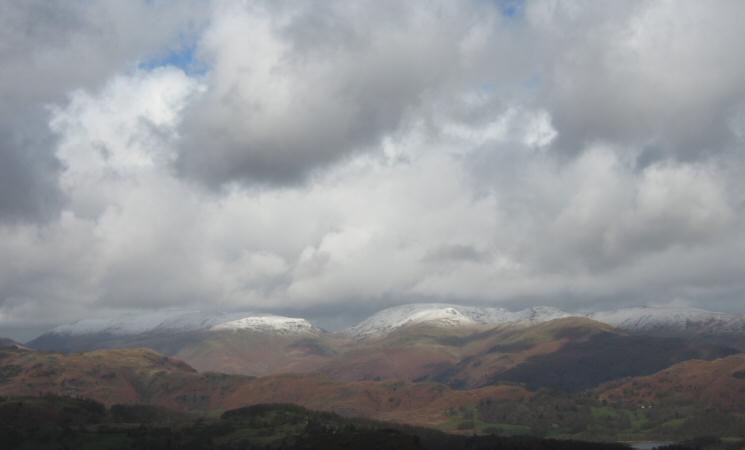The Helvellyn and Fairfield fells from Holme Fell