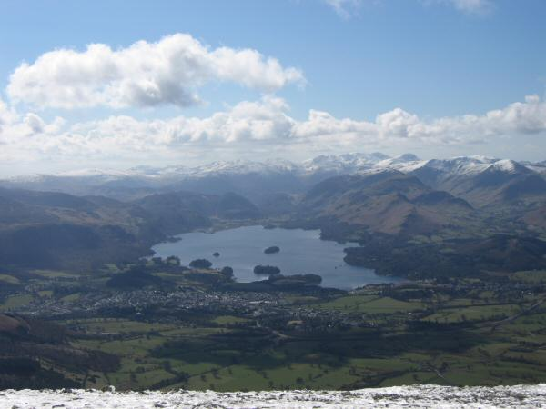 Derwent Water and the high central fells from Lesser Man
