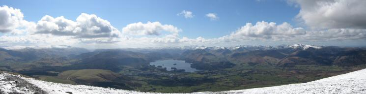 Southerly panorama from Skiddaw Lesser Man's summit