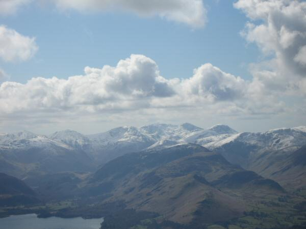 Zooming in on the Scafells and Great Gable from Skiddaw Little Man