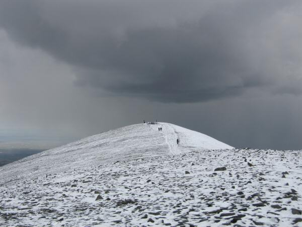 Skiddaw's summit as the clouds gather from the north