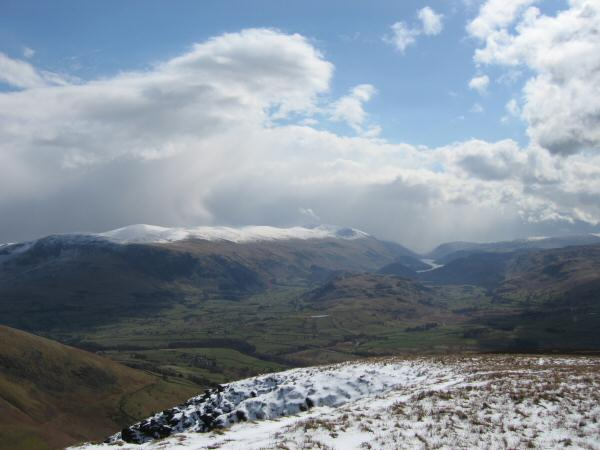 The Helvellyn ridge, High Rigg and Thirlmere from Lonscale Fell