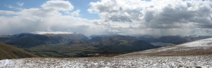 Southerly panorama from our descent off Lonscale Fell