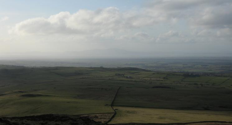 The view north west across the Solway Firth into Scotland from the summit