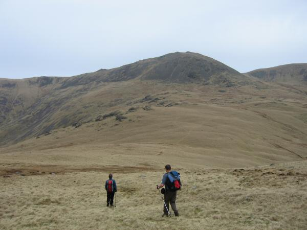 Descending to the Pots of Ashness with Haycock ahead