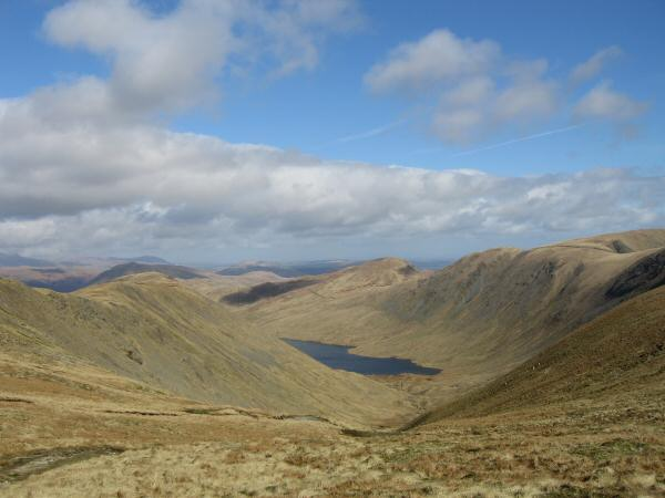 Hayswater with Gray Crag on the left, Rest Dodd behind and The Knott / The Straits of Riggindale on the right