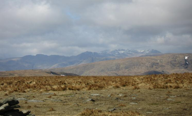 Crinkle Crags, Bowfell, the Scafells and Great End from High Street's summit