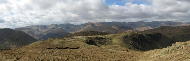 Westerly panorama from the slopes of Rest Dodd