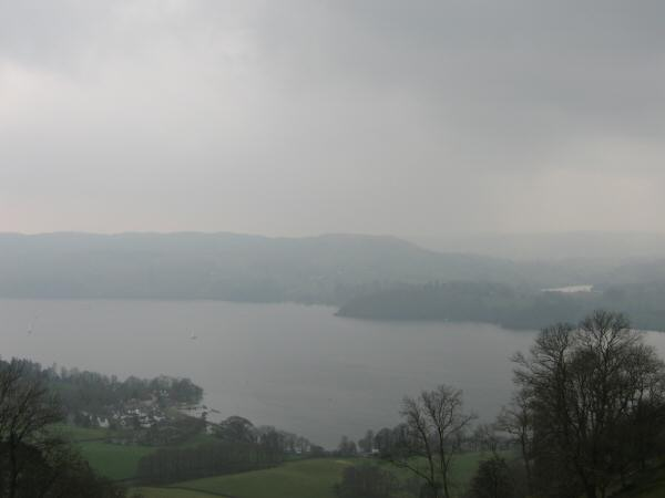 Windermere with the Low Wood Hotel bottom left and Blelham Tarn on the right