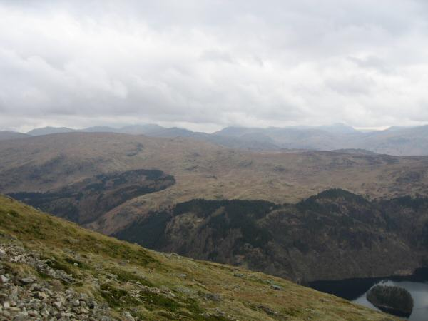 Looking over the central fells towards Bowfell (far left) and the Scafells and Great Gable (tops in cloud)