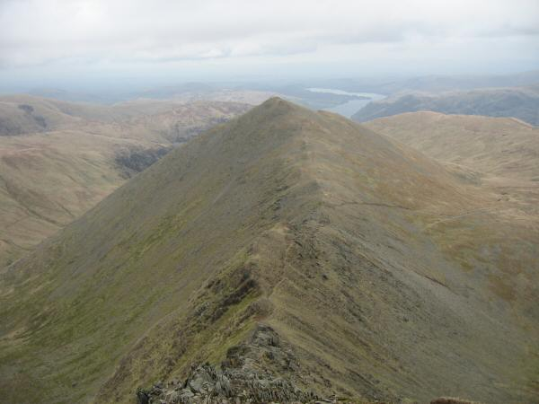 Swirral Edge to Catstycam with Ullswater beyond