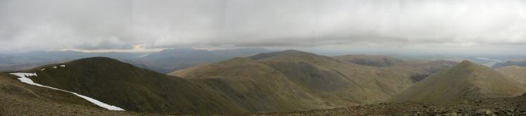 Northerly panorama from the top of Swirral Edge (Helvellyn Lower Man to Catstycam)