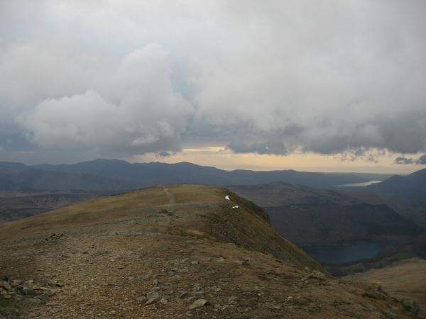 Looking over the top of Browncove Crags to the north western fells