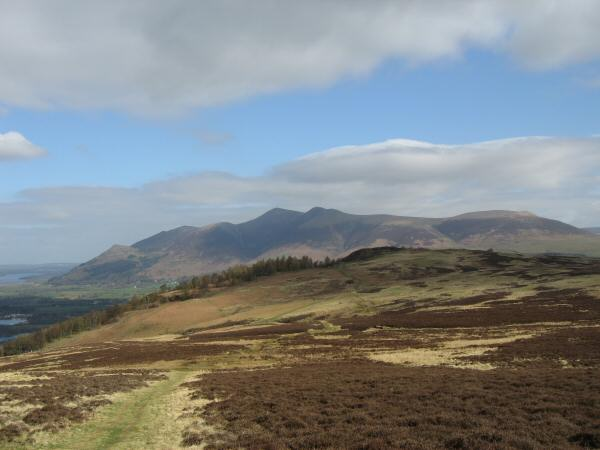 Walla Crag with Skiddaw behind from the path to Bleaberry Fell