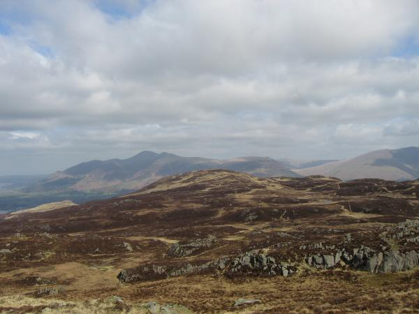 Looking back to Bleaberry Fell (with Skiddaw behind) from High Seat's summit
