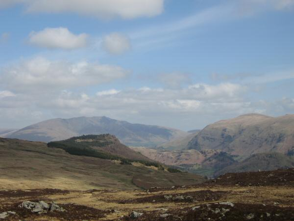 Raven Crag with Blencathra behind and Clough Head on the right from Armboth Fell's summit