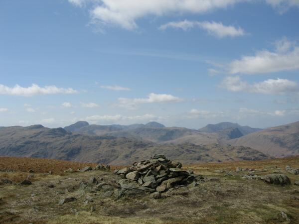 Glaramara, Great Gable, Pillar and the High Stile ridge (behind Honister Crag) from Ullscarf's summit