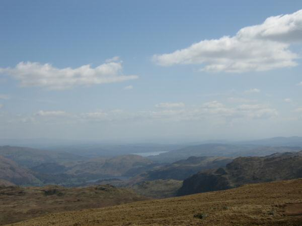 Looking south east from Ullscarf to Windermere