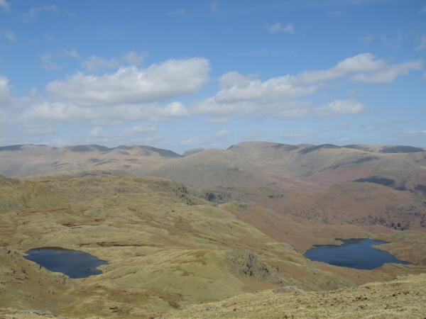 Codale Tarn and Easedale Tarn from the ridge to Blea Rigg