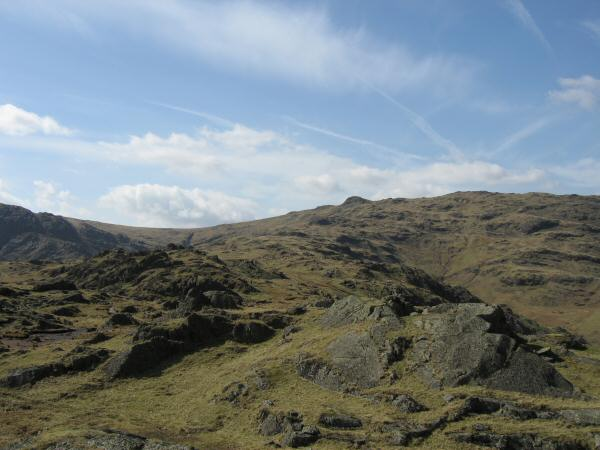Looking back to Sergeant Man (high point on the skyline) from the ridge to Blea Rigg