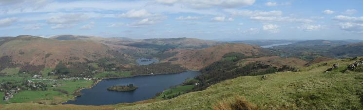 Grasmere with Rydal Water behind and Windermere on the right from Silver How's summit